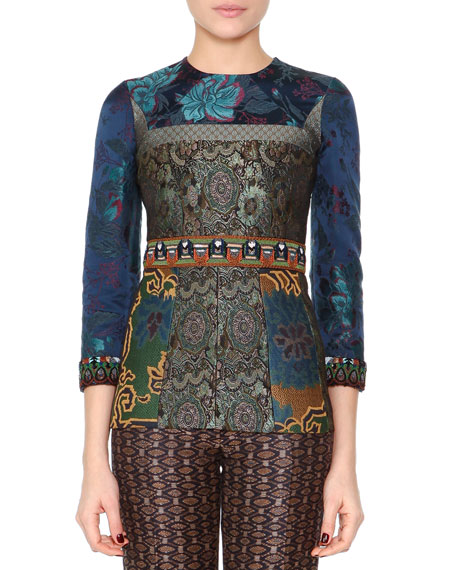 Etro Bead-Trimmed Floral Tunic Top