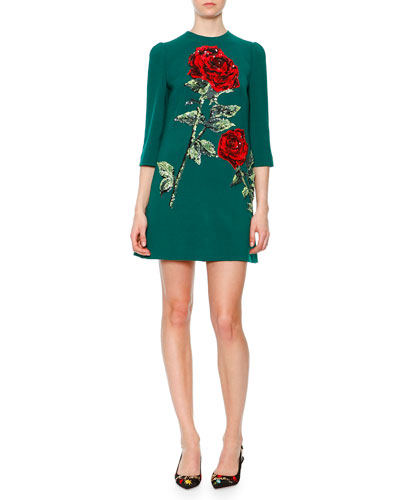 Sequin-Embroidered Rose Shift Dress