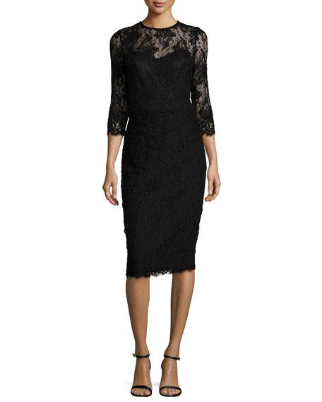 St. John Collection Romantic Floral Lace Dress, Caviar
