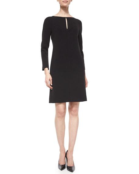 Lela RoseLong-Sleeve Shift Dress, Black