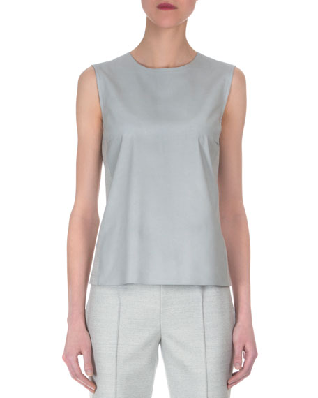 Akris Napa Leather Paneled Combo Top