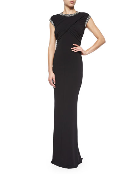 Alexander McQueen Jeweled Slit-Back Crisscross Gown