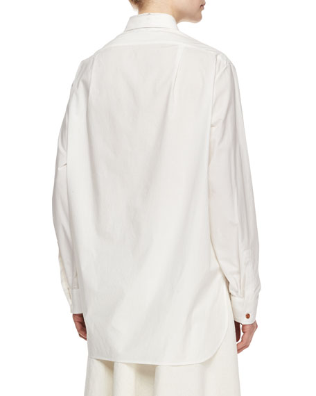 Long-Sleeve Oversized Button Blouse