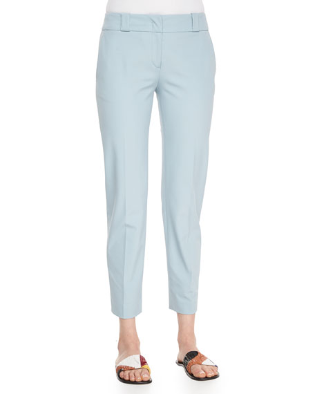 THE ROW Double-Stretch Twill Cropped Pants, Nile Blue