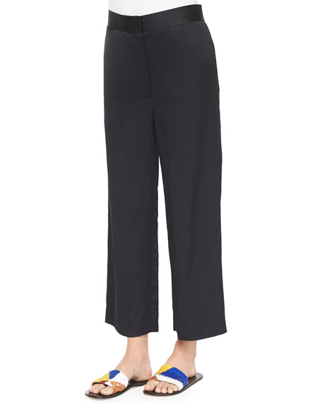 THE ROW Straight-Leg Cropped Pants, Navy