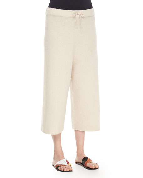 THE ROW Cropped Cashmere/Silk Sweatpants, Cream