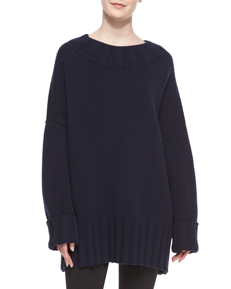 THE ROW Ribbed-Detail Oversized Merino/Cashmere Sweater, Blue