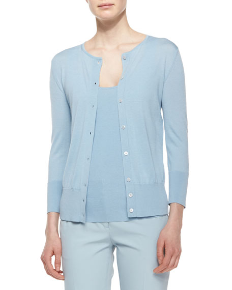 THE ROW Button-Front Merino/Silk Cardigan, Nile Blue
