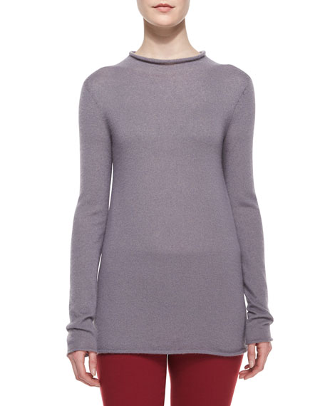 THE ROW Long-Sleeve Fitted Fine-Knit Sweater, Light Lilac