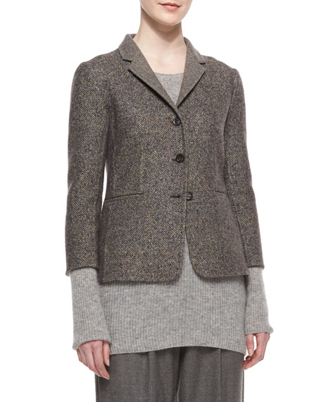 THE ROW Double-Faced Tweed Jacket, Charcoal Melange