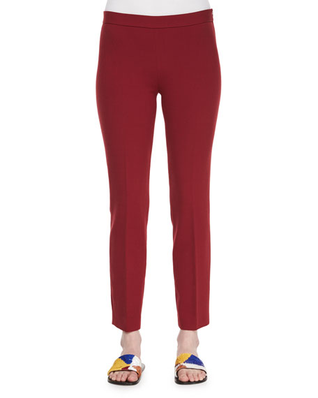 THE ROW Skinny Side-Zip Stretch-Wool Canvas Pants, Crimson Red