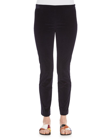 THE ROW Stretch-Corduroy Cropped Leggings, Navy