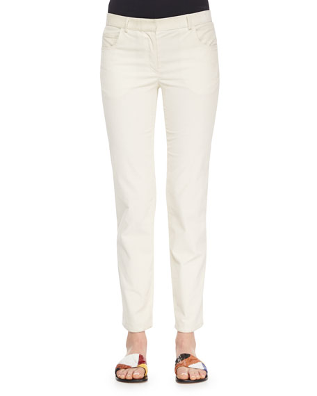 THE ROW Norland Skinny Corduroy Pants, Natural