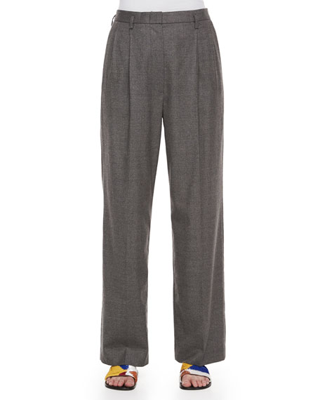 THE ROW Pleated-Front Wide-Leg Birdseye Pants, Gray Melange
