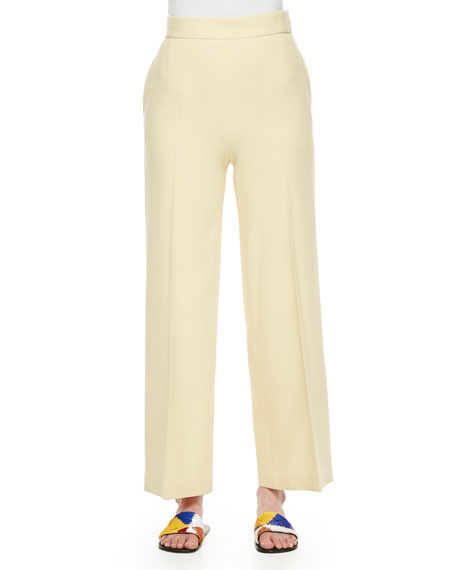 THE ROW Wide-Leg Stretch Wool Pants, Light Yellow