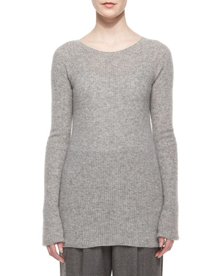 THE ROW Long-Sleeve Ribbed Cashmere/Silk Sweater, Light Gray