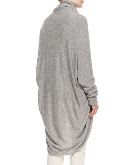 THE ROW Draped-Front Cozy Cashmere-Silk Cardigan, Light Gray Melange