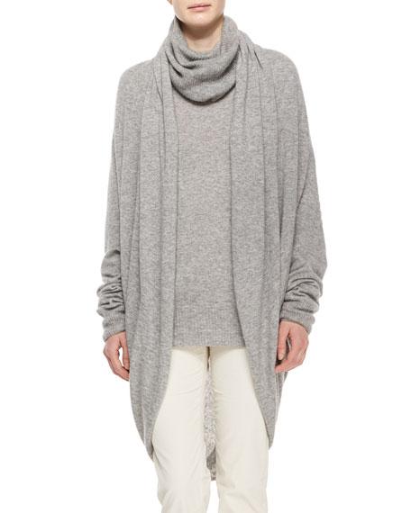 THE ROW Draped-Front Cozy Cashmere-Silk Cardigan, Light Gray
