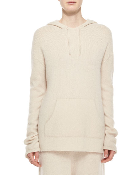 THE ROW Long-Sleeve Cashmere/Silk Pullover Hoodie, Cream