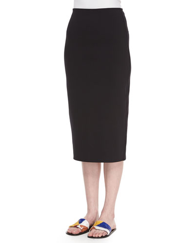 Scuba Jersey Pencil Skirt, Black