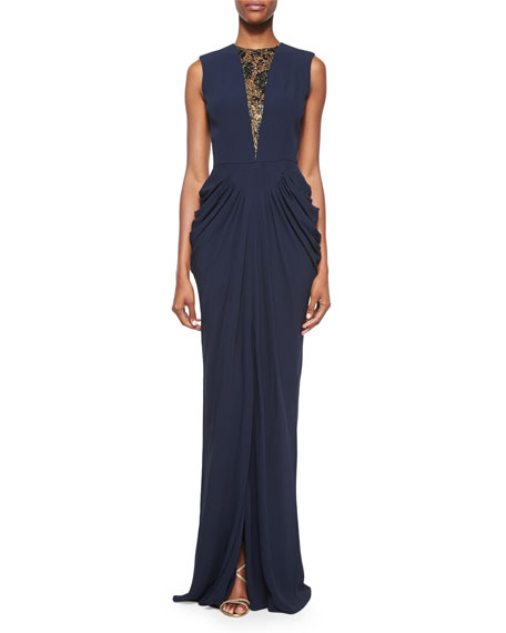 Beaded Lace-Inset Draped Gown