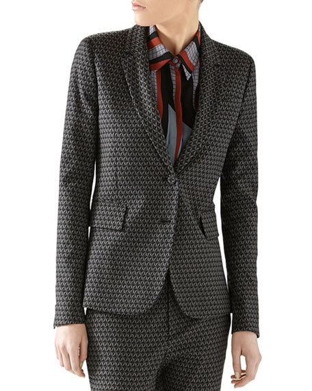 Gucci Kaleidoscope Light Wool Single-Breasted Blazer
