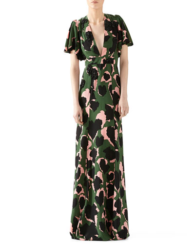 Leaves Print Embroidered Silk Gown