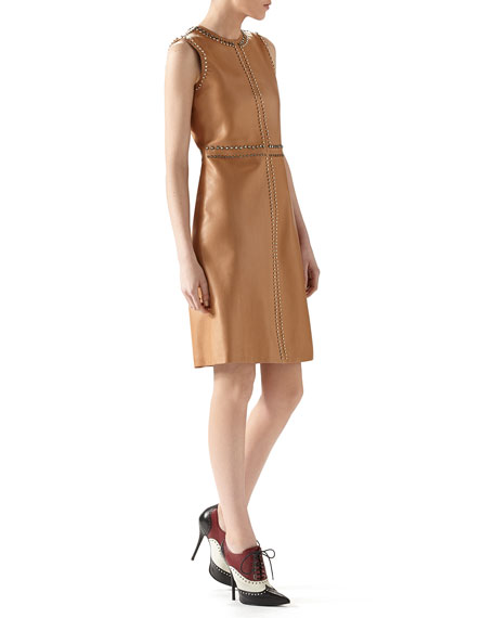 Gucci SL CREWNK LEATHER EMB DRESS