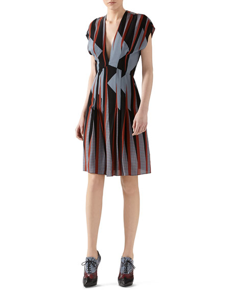 Gucci Triangle Print Silk Dress