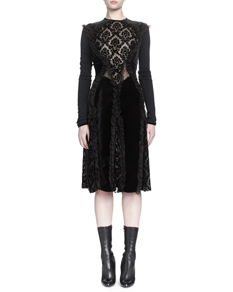 Givenchy Devore Ruffle-Paneled Dress