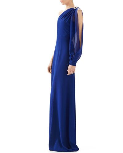 One Shoulder Silk Georgette Gown