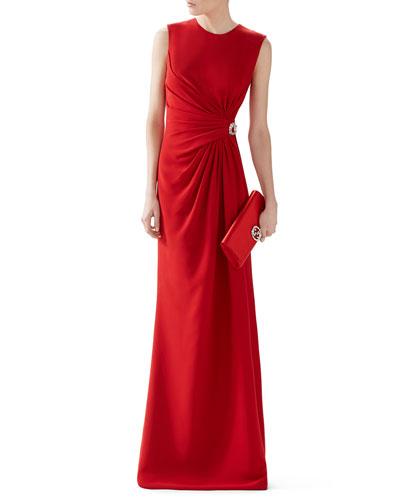 Silk Cady Ruched Front Gown