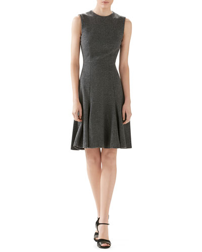 Herringbone Wool-Cashmere Jersey Dress