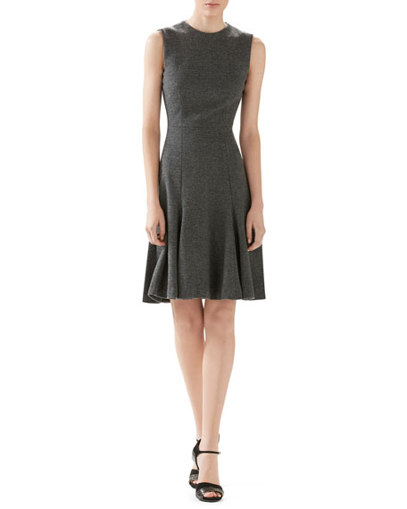 Gucci Herringbone Wool-Cashmere Jersey Dress