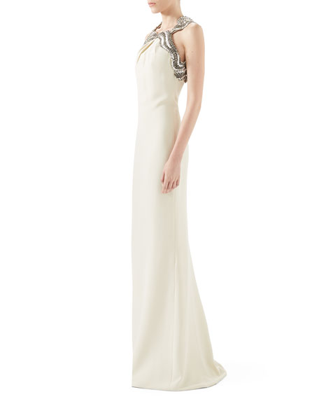Silk Cady Gown With Crystal Neckline