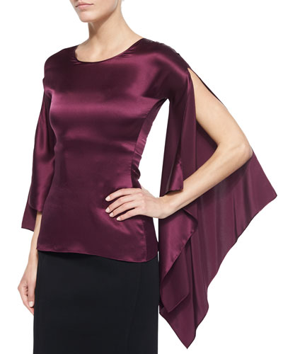 Long-Sleeve Medieval Top, Aubergine