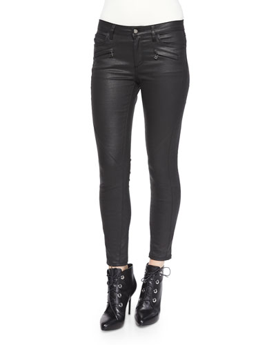 Coated Stretch Denim Jeans, Black