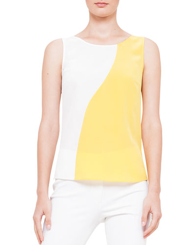 Wavy Colorblock Sleeveless Blouse
