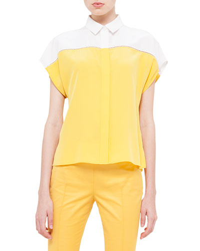 Colorblock Hemstitched Button Blouse