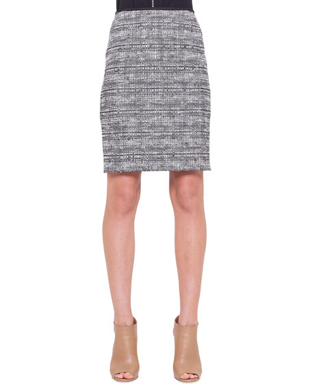 akris punto check tweed pencil skirt