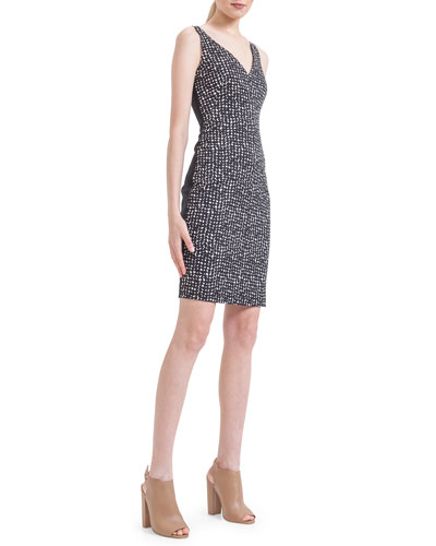 Guitar Pick Jacquard Paneled Sheath Dress