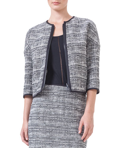 Reversible Contrast-Piped Tweed Jacket