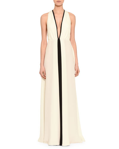 Plunging Colorblock Racerback Gown