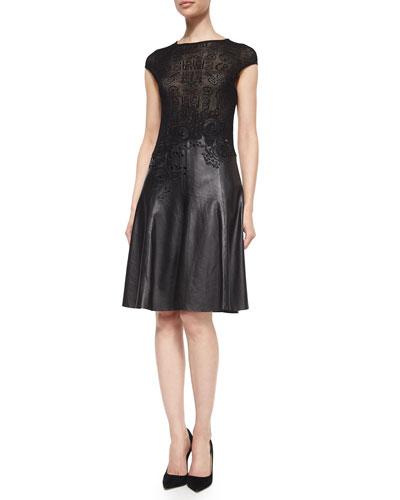 Lace Knit & Leather Combo Dress
