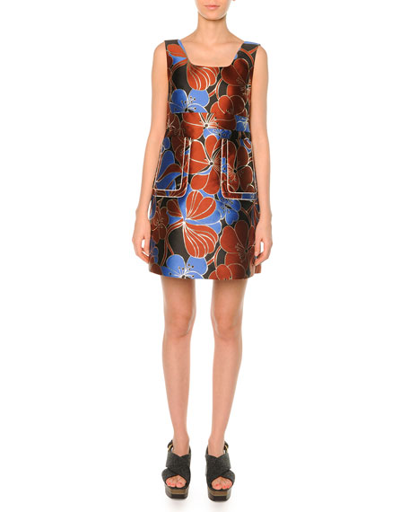 Marni Pimpernel Blossom Jacquard Dress , Raisin