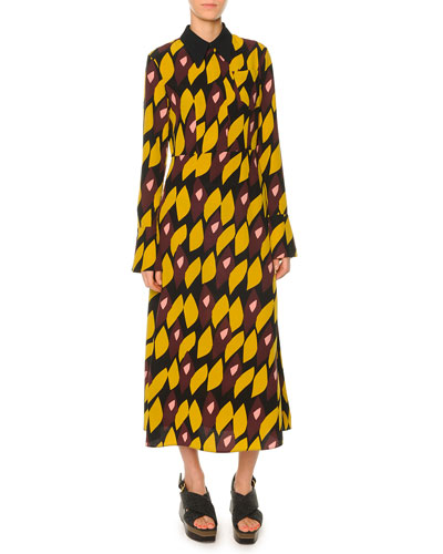 Abstract-Print Crepe Shirtdress, Dark Lemon