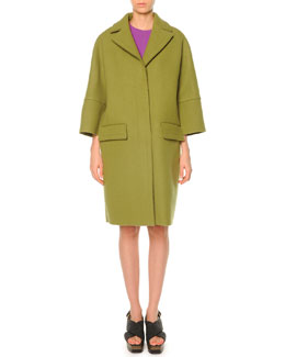 Pressed-Felt Three-Button Coat, Lime
