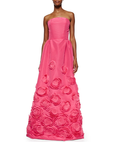 Strapless Floral Embroidered Organza Gown
