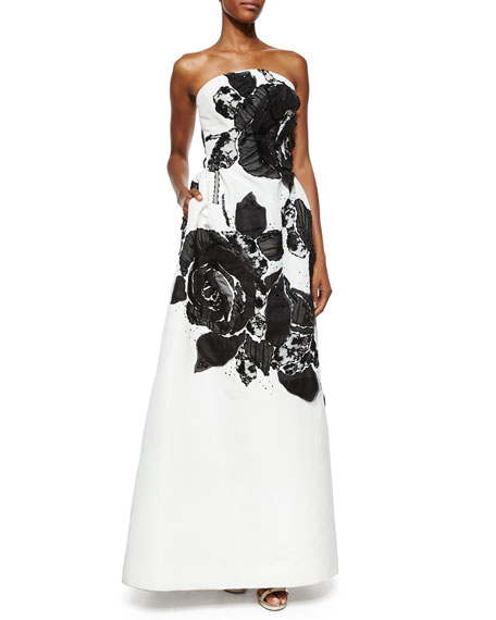 Oscar de la Renta Strapless Floral Lace Organza