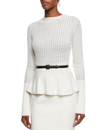 Waffle-Knit Peplum Sweater, Cream